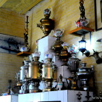Russian samovars in tea cafeteria